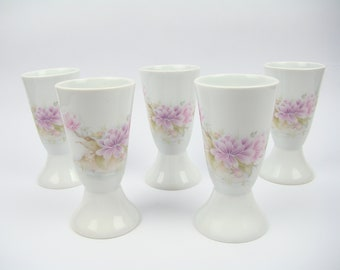 LIMOGES porcelain - Porcelain FAROUT set of 5 mugs vintage floral - Magnolia flowers - Shabby chic decor - Made in France