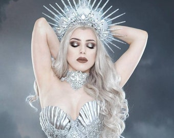 ARCTIC SIREN HALO - Mermaid Crown - Showgirl Headpiece - Unique Handmade Festival Wear - Burning Man Siren Accessory - Icequeen Headdress