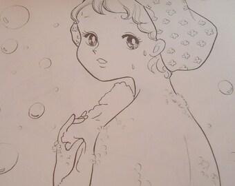 Japanese Manga Vintage Big Eyes Girls Coloring Book. 80s. Fashion