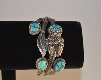 Rare old vintage Navajo God snake serpent feather hand crafted cuff bracelet