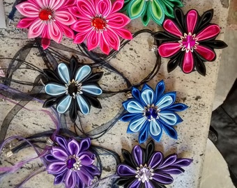 Kanzashi Flower Satin Necklace