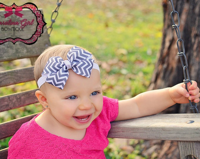 Gray Chevron Bow Band - Bow on an Elastic Headband Baby Infant Toddler - Girls Hair Bows
