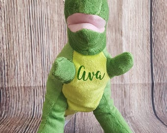 Dinosaur Plush T-Rex Toy with Name, Custom Personalized Stuffed Animal, Valentine's Day, Birthdays, Easter, Christmas Gift, Stocking Stuffer