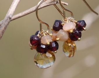 30% OFF - Golden Yellow Citrine with Peach Moonstone and Garnet 14k Gold Filled Earrings January February June Birthstone Gemstone Cluster
