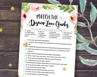 Printable Bridal Shower Games: Disney Love Quotes Match, Unique Wedding Shower Instant Download, Romantic Trivia, Floral and gold, Purple