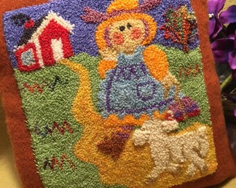 Primitive Punchneedle Pattern Mary's Lamb