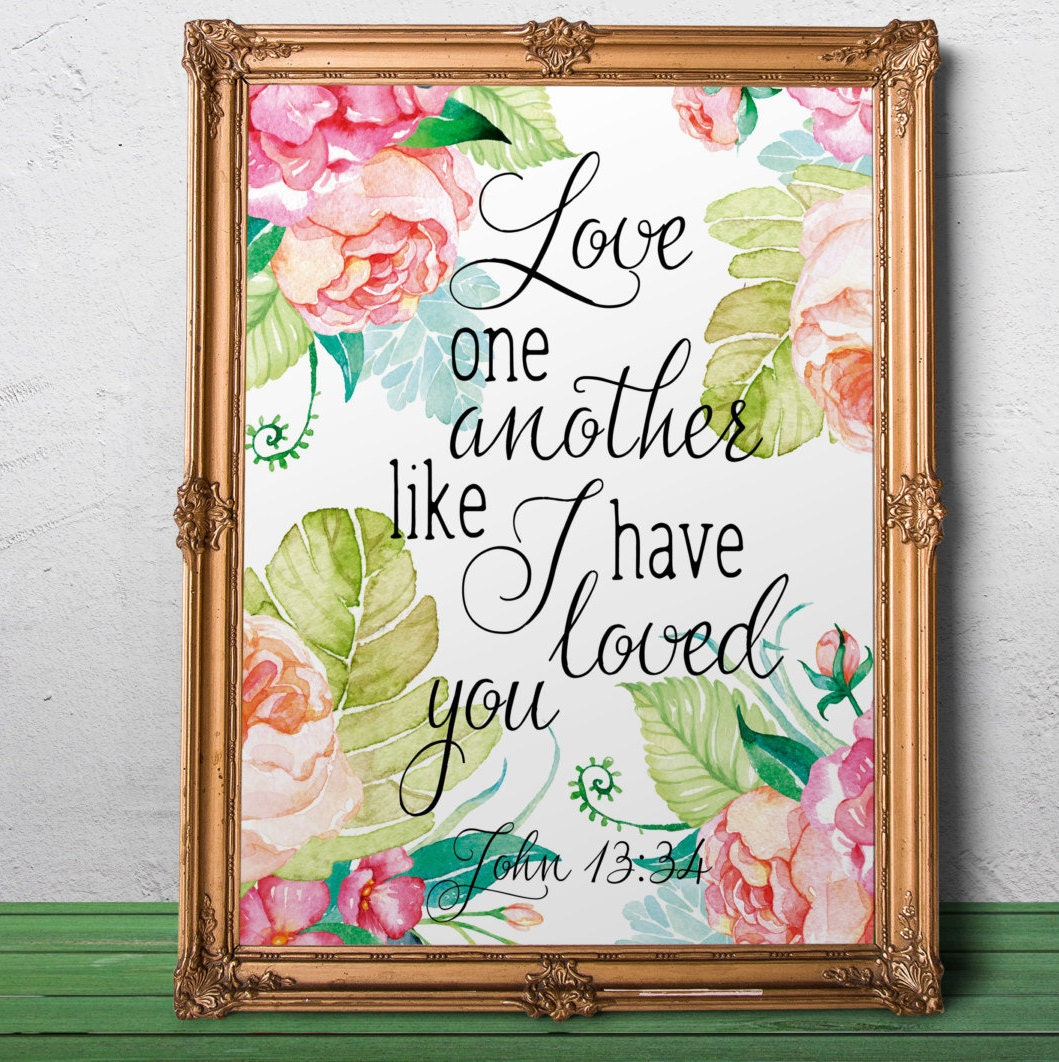 Bible Quotes On Love And Marriage Love Quotes Wedding Bible Verse John 1334 Marriage Wall Art