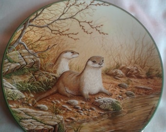 Collectable Plate... Otter Pair On A River Bank