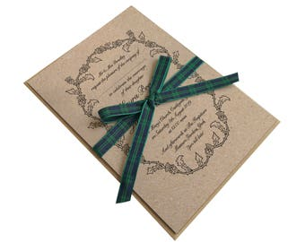 Scottish Thistle Wedding Invitation, Thistle Wreath, Scottish Wedding, Scottish Invitations, Highland Wedding, Tartan Wedding, SAMPLE