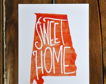 Sweet home Alabama; orange watercolor hand lettered print, 8x10""