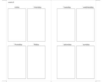 Filofax Personal Printable Weekly Insert Monday Start with Notes at Beginning of Week