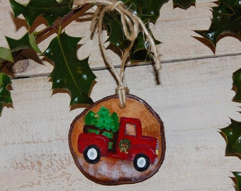 Hand-Painted Red Christmas Tree Truck Wood Slice Ornaments, Woodland Christmas Decor, Farm Truck Christmas Tree Ornaments, Stocking Stuffers