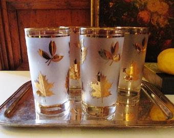 Set of Four Libbey Golden Foliage Glasses, Vintage Golden Leaves Glassware, Gilded Autumn Leaves Tumblers, Retro Glassware