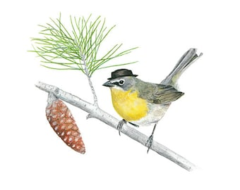 """No.14 - """"Yellow-breasted Chat with Pork Pie"""" - high-quality 8x10"""" giclée fine art print, signed by artist"""