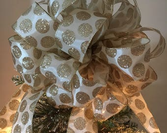 Large  Christmas Tree topper bow Ivory with gold glitter polka dots and Red glitter  Ribbon