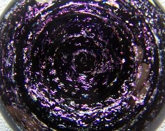 Magenta pink to purple fireworks star spiral galaxy - dichroic vortex starfield 3D Lampwork glass pendant