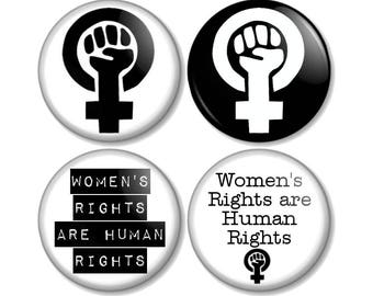 "Feminist 25mm / 1"" (1 inch) Pin Button Badges Feminism Symbol Women's Rights are Human Rights political protest march movement equality fist"