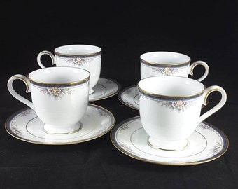 """Noritake Ontario Four (4) 3"""" Footed Cups and Saucers 3763 Japan 8 Available"""