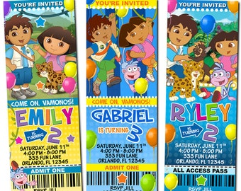 Dora the Explorer Diego Birthday Party Photo Ticket Invitations - Printable