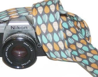 Aqua, Orange Droplets DSLR, SLR Camera Strap - Handmade by Howard Avenue