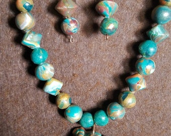 Polymer clay beaded necklace and earrings