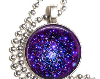 Violet Nebula Galaxy Stars Space Art Pendant, Universe Art Pendant, Earrings and/or Keychain, Round Photo Silver and Resin Charm Jewelry
