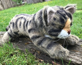 Realistic Tabby Cat Floppy Plush Stuffed Animal Toy