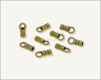 10 pc.+  2.5mm Crimp End Cap, Crimp Ends, Cord Ends for Leather Cords & Chains - Raw Brass