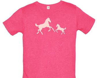 Cowgirl Horse Girls Shirt - Pony Pair Kids Tee - Girls Love Horses Shirt Shirt - Multiple Colors - Gift Friendly / PolyCotton blended Tee