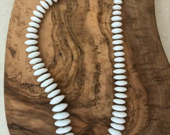 Vintage White Glass | Brass Disc Spacers | Graduated Disc Sizes | Statement Necklace | One of a Kind