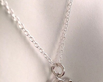 Sterling Silver Double Heart Necklace - 3D Linked Hearts Necklace - Two Joined Silver Hearts