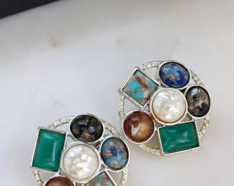 Vintage Sarah Cov Clip On Earrings - Color Stones Clip on Earrings