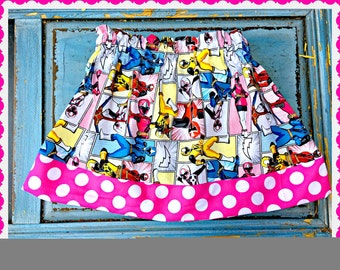power rangers skirt girls 2T 3T 4T 5T 4/5 6/6X 7/8 10/12 14/16 ready to ship
