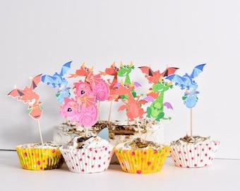 12 Dragon Cupcakes - Dragon Baby Shower Decoration - Dragon Birthday Cake Toppers - Dragon Baby Shower Cake Toppers - Dragon Party Decor