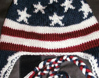 Old Glory Patriotic Earflap Hat (made to order)