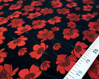 Black and red flower fabric #45x