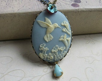 Hummingbird necklace, blue cameo pendant, bird necklace, nature jewelry, wedding, woodland