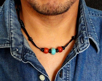 Men's Tribal Necklace | Leather Choker for Men, Unisex | Black Leather, Red Jasper, Blue Magnesite Stone | Handmade