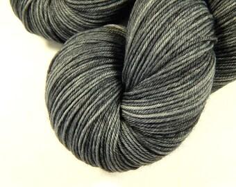 Hand Dyed Sock Yarn, Sock Weight 4 Ply Superwash Merino Wool - Pewter - Indie Dyed Semi Solid Fingering Yarn, Tonal Medium Grey Gray