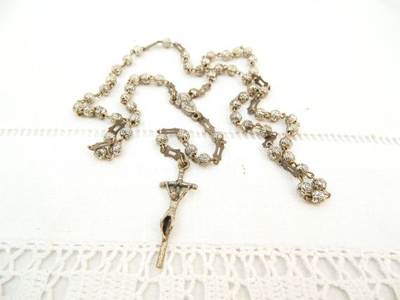 Small Vintage French 1960s Delicate Silver Plated Rosary Beads and Crucifix, Retro Rose Shaped Religious Beads and Metal Cross from France