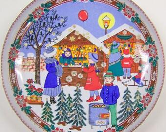1987 Enamel Plate 'Christkindl Markt' - 'The Christmas Market'