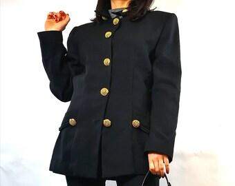 Woman vintage black blazer Gold bottom Made in Italy vintage Black gold button jacket TG 44
