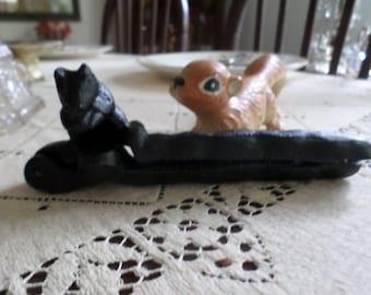 Vintage Black Iron Squirrel Nut Cracker-Hazelnut/Walnut/Pecan/Brazil Nut Opener