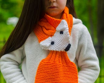 Kids Fox Scarf - Knit Fox Wrap, Knitted Fox Stole, Fox Lover Gift, Knit Animal Scarf, Knit Fox Scarf, Fox Wrap, Cute Animal Scarf