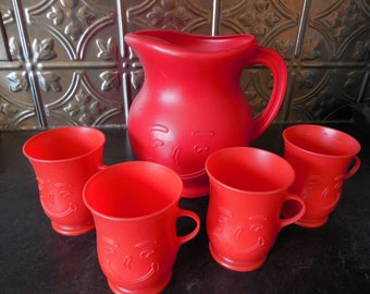 Fun 70's Smiling Red Kool Aid Pitcher and Four Cups