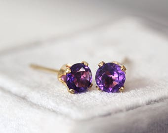 Amethyst Earrings - Gemstone Studs - Tiny Stud Earrings - February Birthstone - Amethyst Earrings Gold - Amethyst Studs - Purple Earrings