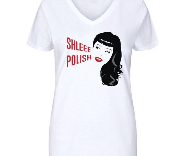 SALE! Shleee Polish Logo / V-Neck Tshirt / Jr sizing