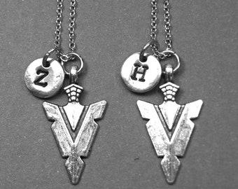Best friend necklace, arrow head necklace, arrow head jewelry, friendship jewelry, BFF necklace, personalized necklace, initial necklace
