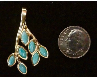 "MEMORIAL DAY SALE Original Dominican Larimar ""Leaves"" Pendant Handmade Sterling Silver/14K Yellow Gold Plated Setting Free Shipping"
