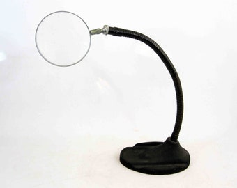 Vintage Magnifying Glass On Cast Iron Goose Neck Lamp Base. Circa 1930's.